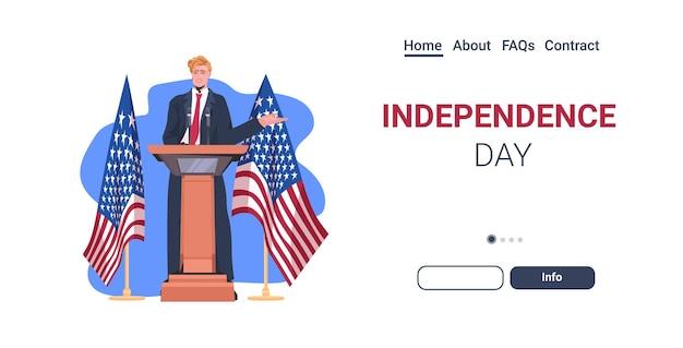 Político dos estados unidos fazendo discurso na tribuna com a bandeira dos eua, página inicial de celebração do dia da independência americana em 4 de julho