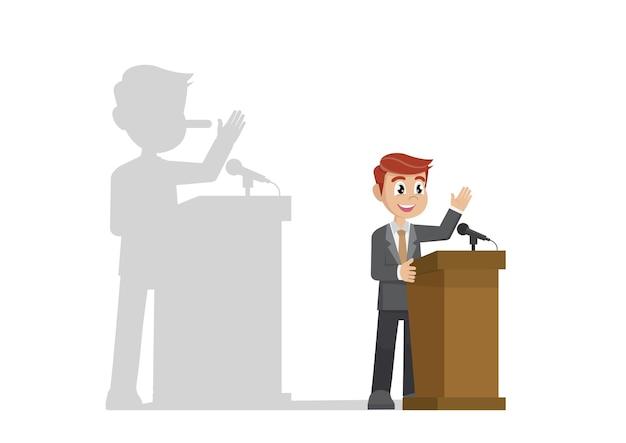 Político em um pódio dando um discurso com sua sombra de nariz comprido.