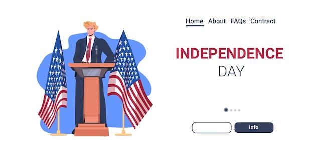 Político fazendo discurso na tribuna com a bandeira dos eua, página inicial de celebração do dia da independência americana em 4 de julho