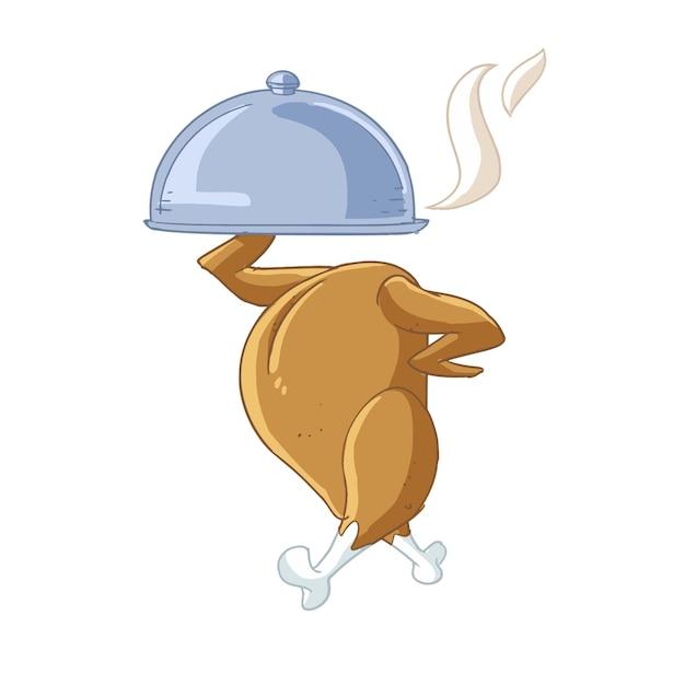 Pollo asado con una bandeja