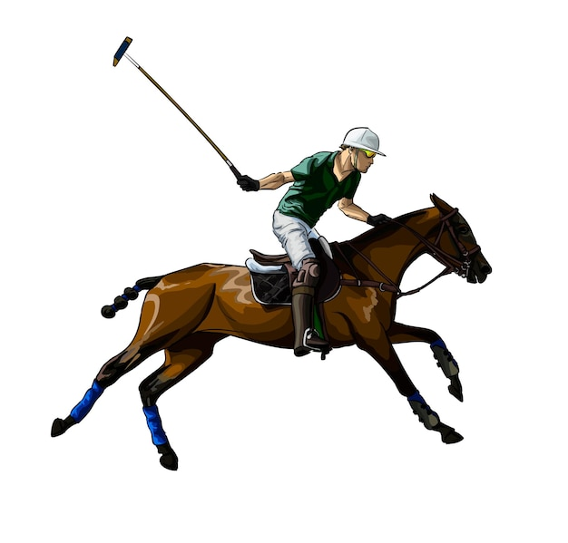 Pólo equestre com um jóquei de respingos de aquarelas desenho colorido andar a cavalo