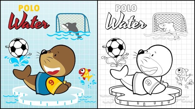 Polo water with funny animals cartoon