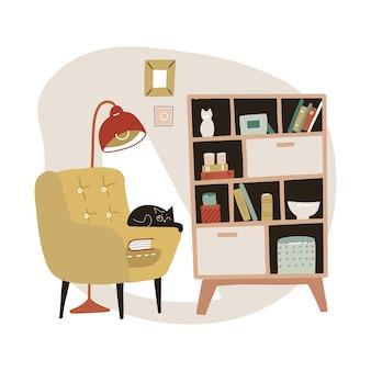 Poltrona aconchegante amarela e armário de livros com estantes. interior da casa escandinava com gato. ilustração desenhada mão plana.