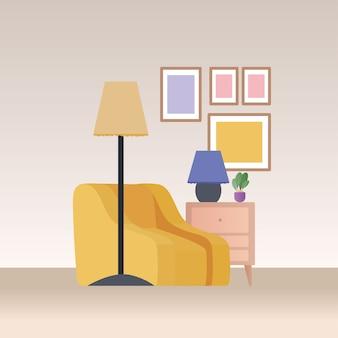 Poltrona amarela com móveis e abajur no design da sala de estar, decoração da casa, interior, prédio de apartamentos e tema residencial