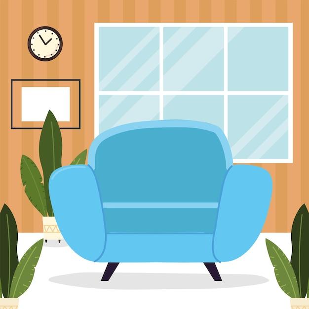 Poltrona azul e plantas
