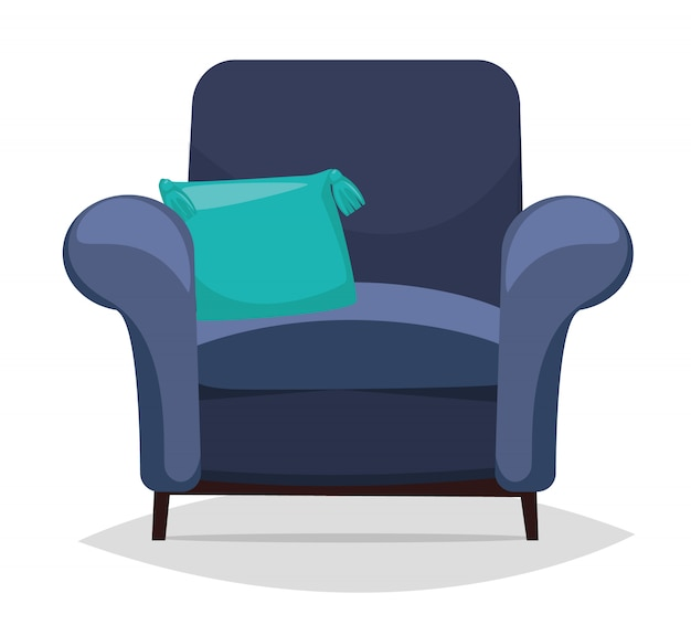 Poltrona azul e travesseiro