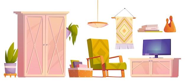 Poltrona com móveis rústicos para sala de estar, televisão