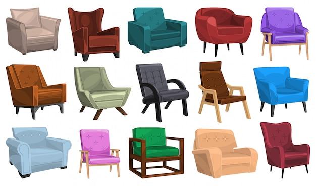 Poltrona em casa dos desenhos animados definir ícone. cadeira confortável ilustração em fundo branco. poltrona home da casa do ícone dos desenhos animados isolados.