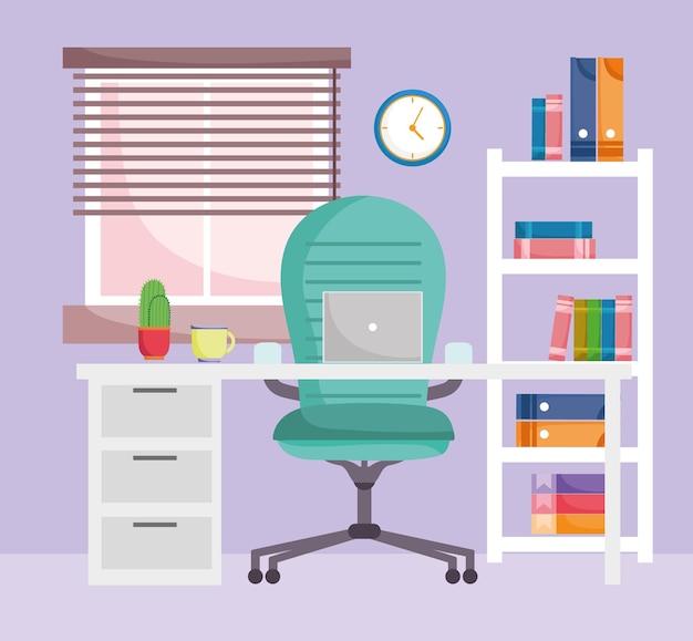 Poltrona interior de escritório em casa mesa laptop estante de madeira com ilustração de livros