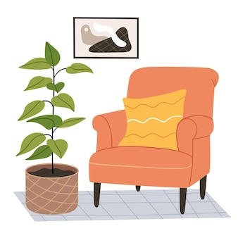 Poltrona laranja em um quarto moderno. ilustração desenhada à mão
