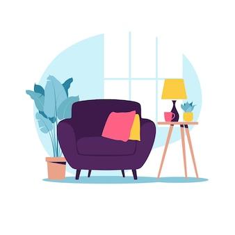Poltrona moderna com mini mesa. interior da sala com mobília. desenho plano