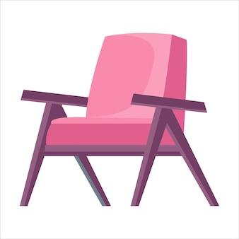 Poltrona rosa ou cadeira em um fundo branco isolado. ilustração em vetor estilo plano cartoon