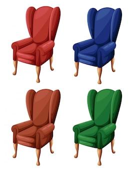Poltrona vermelha azul marrom e verde vintage em ícone de cadeira de estilo para sua ilustração em fundo branco