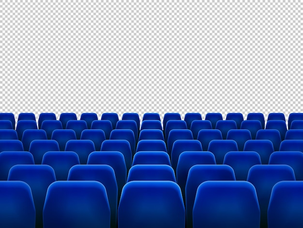 Poltronas azuis isoladas para cinema
