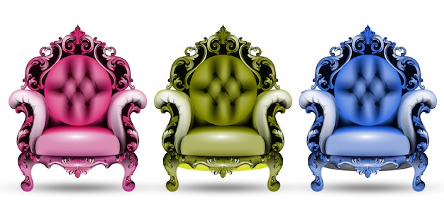 Poltronas coloridas barrocas