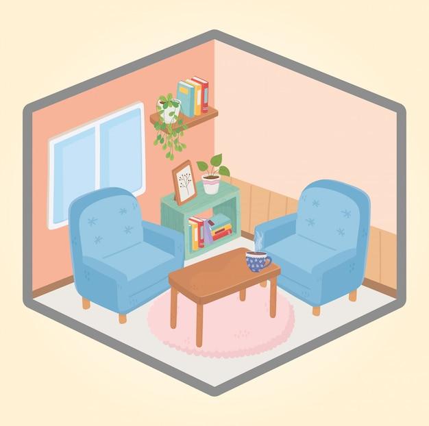 Poltronas em casa doce mesa xícara de café prateleira de livros janela em vaso planta