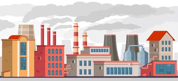 Poluição atmosférica, fábrica industrial com canos polui o meio ambiente com fumaça tóxica