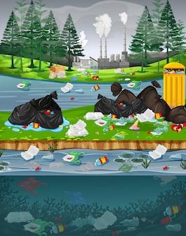 Poluição da água com sacos de plástico no parque