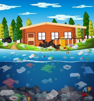 Poluição da água com sacos de plástico no rio