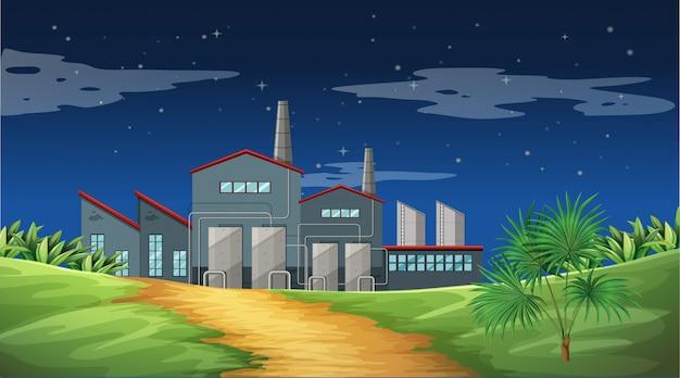 Poluição da cena de tema de fábrica na natureza