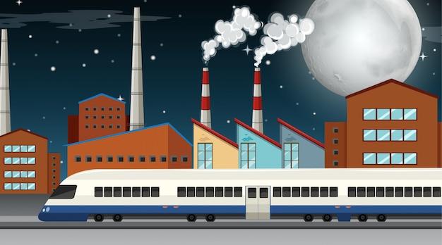 Poluição da cena do tema de fábrica