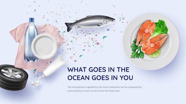 Poluição de alimentos microplásticos. ilustração de alimentos contaminados com fontes microplásticas