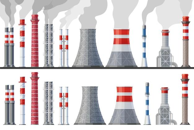 Poluição de chaminé industrial, tubos de fábrica com nuvens de ar tóxico.