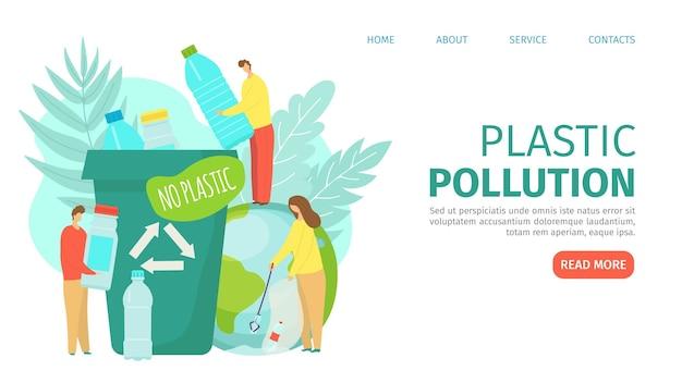 Poluição de plástico na página de destino da ecologia do planeta