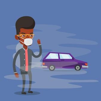 Poluição do ar causada pelo escapamento do veículo.