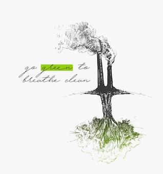 Poluição do ar de fábrica ambiental com texto de ilustração em vetor esboço desenhado à mão verde