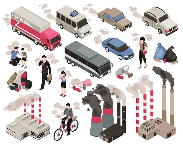 Poluição do ar na cidade isométrica definida com símbolos da indústria isolados