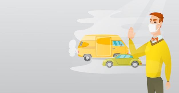Poluição do ar pelo escape do veículo.