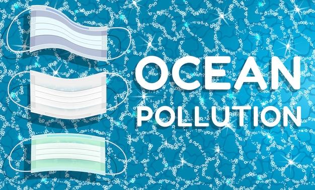Poluição do oceano com desperdício de equipamento de proteção da pandemia do coronavírus