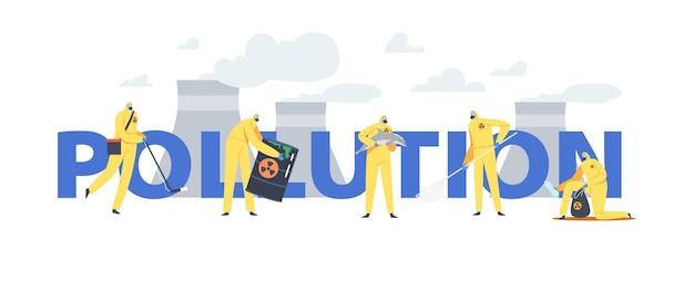 Poluição do oceano por óleo, conceito de catástrofe ecológica. personagens em ternos e máscaras de gás limpando a praia do mar poluída com cartaz, banner ou folheto de barris tóxicos. ilustração em vetor desenho animado