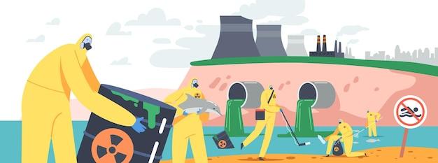 Poluição do oceano por óleo, conceito de catástrofe ecológica. personagens em trajes de proteção e máscaras de gás limpando a praia do mar poluída com barris tóxicos, pesque peixes mortos. ilustração em vetor desenho animado