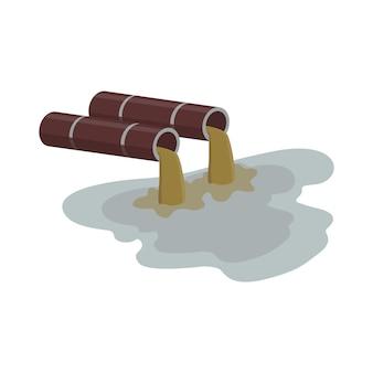Poluição industrial da água - tubulação da fábrica fluindo líquido sujo marrom.