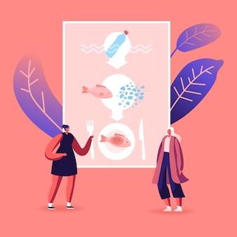 Poluição microplástica no conceito de problema ecológico de alimentos. ilustração de desenho animado