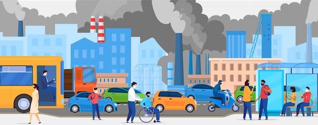 Poluição na cidade com tráfego rodoviário e pedestre em máscaras, ecologia no trânsito urbano, pessoas andando e ilustração poluída fumada.