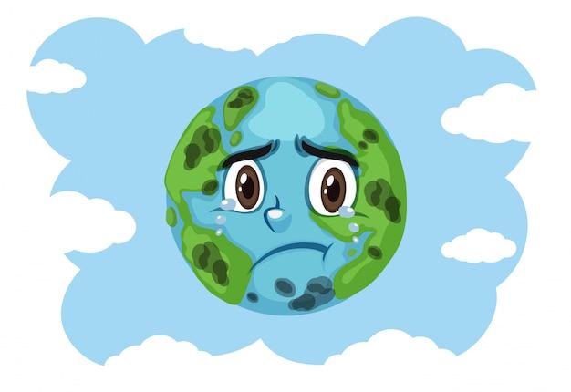 Poluição na terra com a terra a chorar