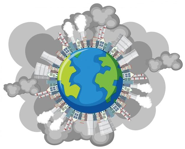 Poluição na terra com edifícios da fábrica e fumaça saindo