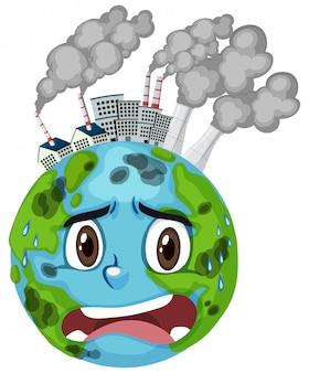 Poluição na terra com fumaça suja de edifícios da fábrica
