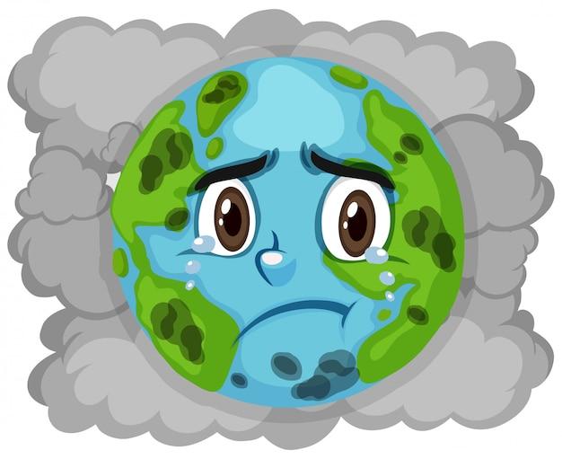 Poluição na terra com fumaça suja no fundo