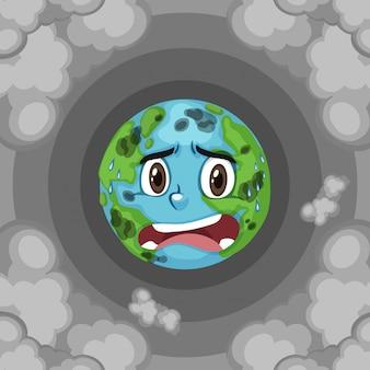 Poluição na terra com fumaça suja