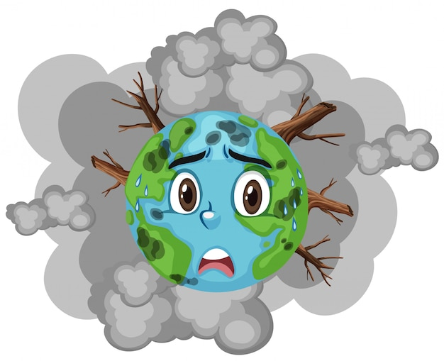 Poluição na terra com muita fumaça e desmatamento