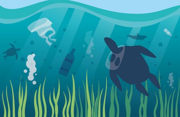 Poluição oceânica com resíduos de plástico, desastre ambiental