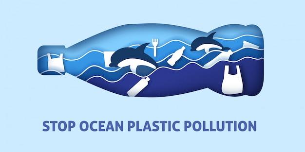 Poluição plástica do oceano no corte de papel e estilo artesanal.
