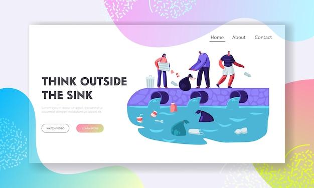 Poluição por plástico da água. modelo de página de destino do site Vetor Premium