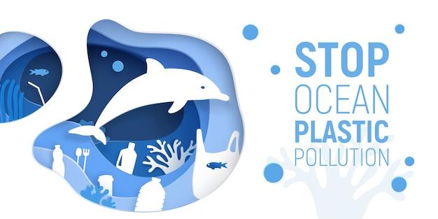 Poluição por plásticos nos oceanos. papel cortado fundo debaixo d'água com lixo plástico, golfinhos e recifes de coral.