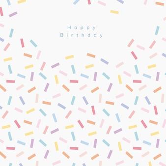 Polvilhe modelo de saudação de aniversário com fundo branco