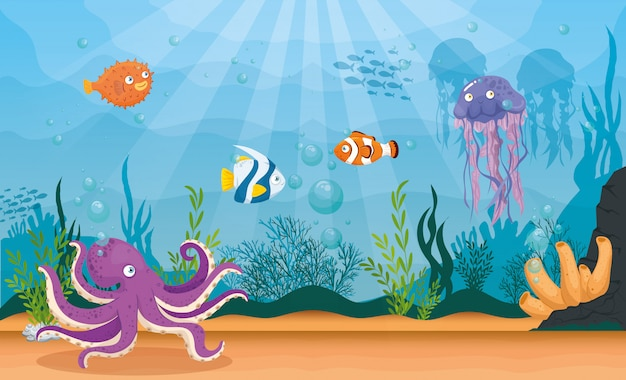 Polvo animal marinho no oceano, com água-viva e peixes ornamentais, habitantes do mundo do mar, criaturas subaquáticas fofas, habitat marinho